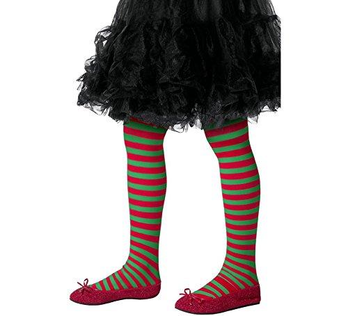 Smiffys Medias a rayas, niños, rojo y verde, M a L - Edad 8-12 años (48329) 1