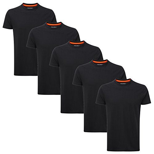 Charles Wilson 5er Packung Einfarbige T-Shirts mit Rundhalsausschnitt (Medium, Schwarz) (Schwarzes T-shirt Design)