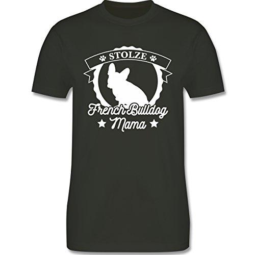 Shirtracer Hunde - Stolze French Bulldog Mama - Herren T-Shirt Rundhals Army Grün