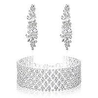 JOERICA Wedding Jewelry Set for Women Bridal Crystals Bracelets and Dangle Earrings Set