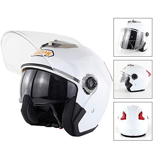 Halb Helm Light ABS Motorrad-Helm Vier Jahreszeiten Männer und Frauen Anti-Fog Double Lens Helm Lining Washable Rad-Helm,M