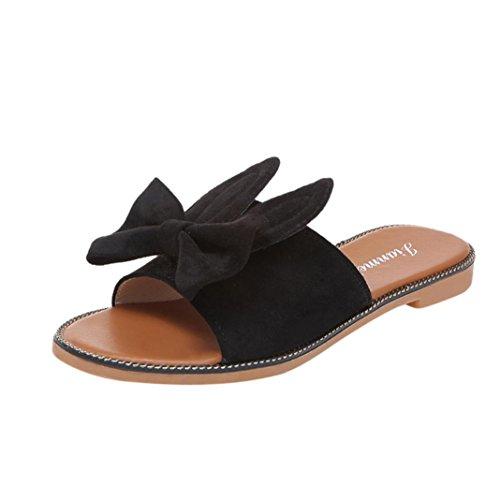 outsta Frauen Fashion Schleife & Ohren Low Ferse flach unten Sandalen Slipper Strand Schuhe US:6 schwarz