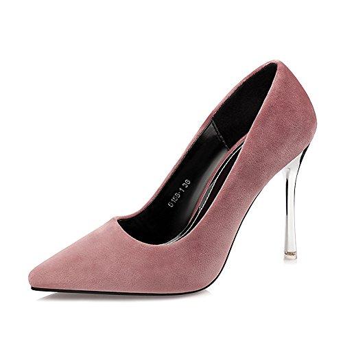 Zapatos Dimaol Mujer Caída En Cuero Comfort Heels Stiletto Heel Tip Para Vestirse Borgoña Light Pink Purple Green Black Light Pink