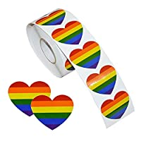 Rainbow Stickers,Gay Pride Novely Stickers Roll,500 Pcs Hear Shaped Waterproof Removable Rainbow Stickers Temporary Tattoos for Gay Pride Celebrations