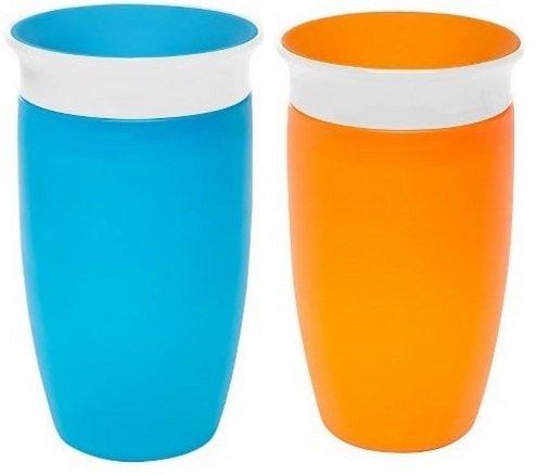 Munchkin Miracle 360ᵒ Trinkbecher 296 ml - 2er Pack (Farbe: Orange, Blau)