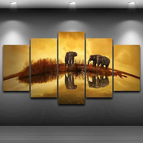 Lienzo Arte de la Pared Imágenes Paisaje Impresión Modular Pintura 5 Paneles...