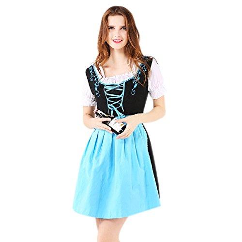 Kostüme Halloween Berühmte Frauen (Damen Trachten Dirndl-Set Oktoberfest Dirndl Trachtenkleid (EU L,)