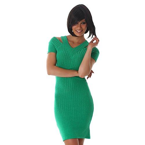 JELA London Damen Kleid Träger V-Ausschnitt Stretch Feinstrick Strickkleid Kurzarm Schulterfrei Etui Abend Grün