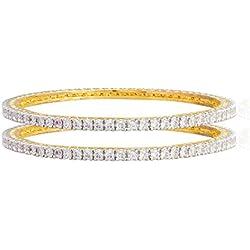Shining Jewel 24K Gold Plated American Diamond CZ Solitaire Bangles For Women (SJ_3001_M)