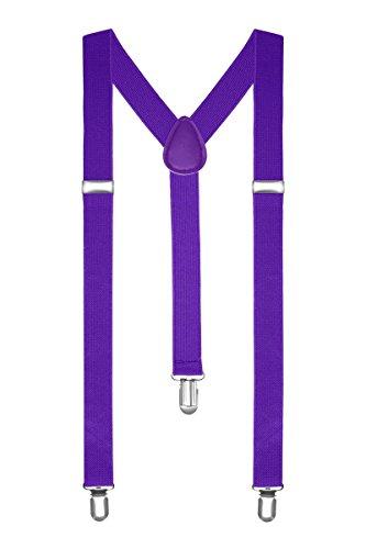 Boolavard bretelle uomo donna unisex forma a y regolabile ed elastico per i pantaloni molto forti clip vari colori (viola)