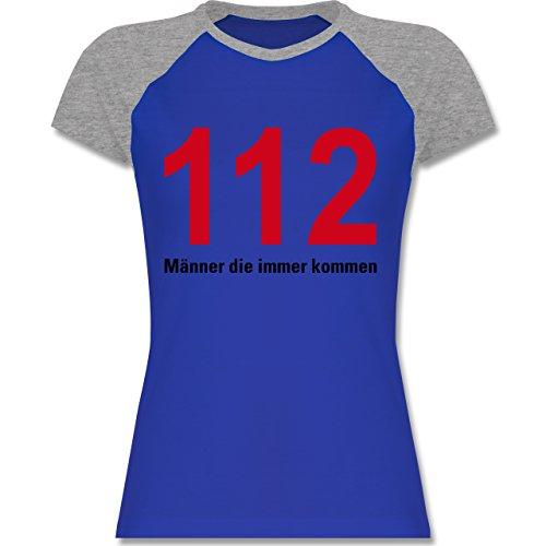 Feuerwehr - 112 - Männer die immer kommen - zweifarbiges Baseballshirt / Raglan T-Shirt für Damen Royalblau/Grau meliert