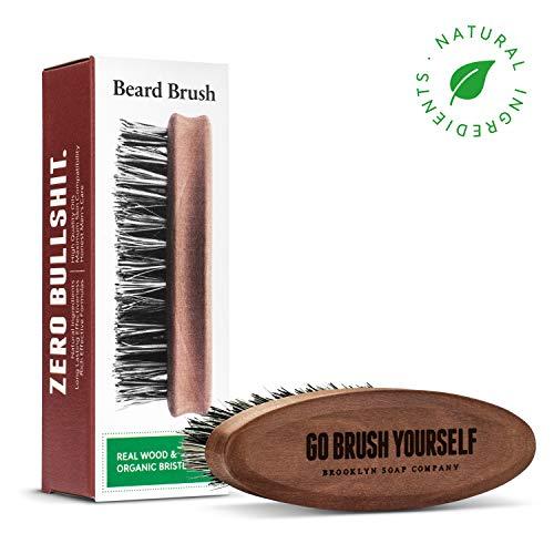 Bartpflege: Beard Brush ✔ Bartbürste ✔ Natürliche Pflege der BROOKLYN SOAP COMPANY vegane Borsten - Geschenkidee als Geschenk für Männer - Bartstyling für 3-Tage-Bart, Vollbart für den modernen Mann