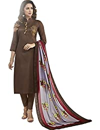 Impressed Collection Brown Heavy Jam Cotton With Designer Hand Work Long Stitched Suit