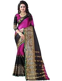 Vastrang Women's Cotton Silk Saree With Blouse Piece(A110_Pink Black_Free Size)