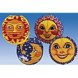 HAAC Lampion bunt mit Motiv Mond oder Sonne für Feste Laternenumzug 25 cm