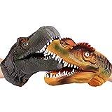 gaeruite 2pcs Guanti di Dinosauro a Mano in Gomma Morbida con fantoccio per Bambini