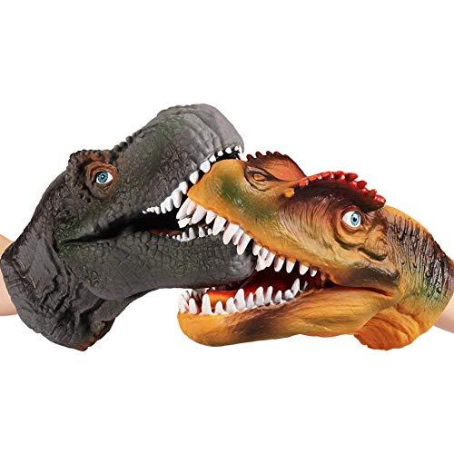 PROKTH Dinosaurier-Handpuppe, weich, Gummi, Drache, Dinosaurierkopf, Spielzeug für Kinder und Erwachsene, 2 Stück