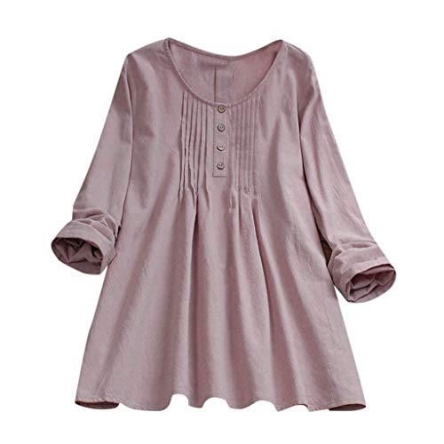 CAOQAO Damen Casual Plus Größe Fest Lose Leinen Knopf Tunika Hemd Bluse Oberteile(XXXXXL,Rosa)