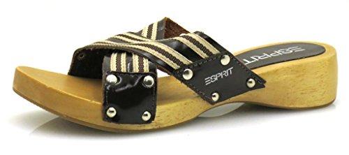 Esprit holzpantolette pantolette chaussure de dame Marron - Marron