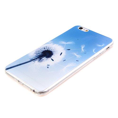 iPhone 6 Custodia, iPhone 6S Cover Silicone, iPhone 6S Case, Felfy Rosa Amore Cuore Ancore Stile TPU Trasparente Chiaro UltraSlim Sottile Silicone Gel Protettiva Copertura Tacsa Caso Case Cover per Ap Bianco Dandelion