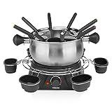 Tristar FO-1109, fondueset voor maximaal 8 personen, inhoud 1,3 liter, inclusief roestvrijstalen vorken en sauzenring, 1400 watt, zilver/zwart