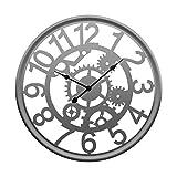 iVansa Grande según los Reloj de Pared, 19,8Pulgadas (50cm) Europea Vintage Reloj de Pared de Hierro, con números árabes Mano 3D Artistas de Estilo Home Decor, Hierro, Plata, 50,5 x 50,5 cm