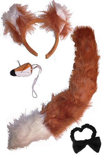 Kostüm Frauen Löwen Niedliches - Faschingskostüm Damen Fuchs-Set (Schwanz, Haarreif, Nase, Fliege) (rot-braun)