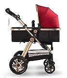 """Kinderwagen """"Florida"""", 3 in 1 Kombikinderwagen Megaset 8 teilig inkl. Babyschale, Babywanne, Sportwagen und Zubehör, zertifiziert nach der Sicherheitsnorm EN1888, Bordeaux Rot"""