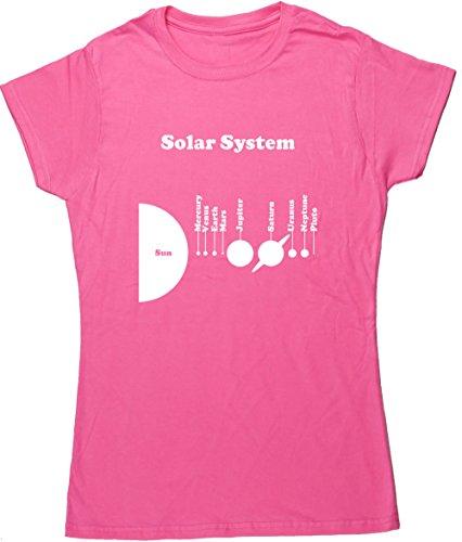 X-large Planeten Erde (hippowarehouse Solar System Planeten Sonne Quecksilber Venus Erde Mars Jupiter Saturn Uranus Neptune Pluto Damen Fitted Short Sleeve T-Shirt (bestimmte Größenangaben in der Beschreibung) Gr. X-Large, rose)