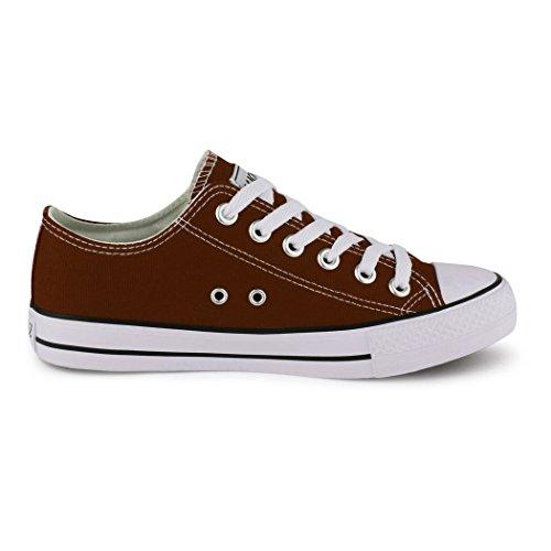 Best-Boots - Chaussure De Sport Femme - Sneakers Chaussure Basse Lacets Marrone (marrone)