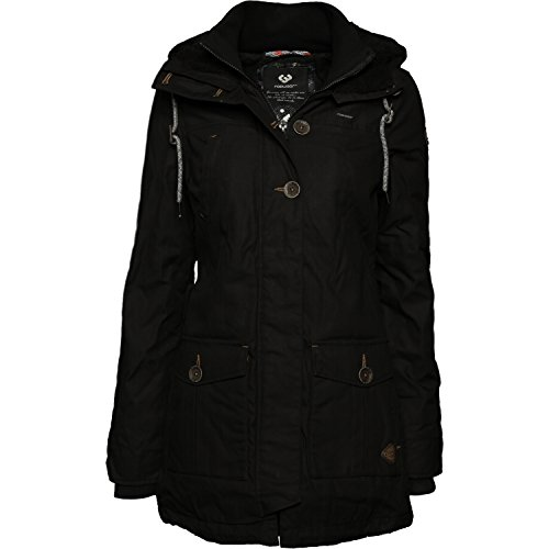 Ragwear Damen Mantel Wintermantel Winterparka YM-Jane (vegan hergestellt) Black Gr. L (Weiche Fleece-parka)