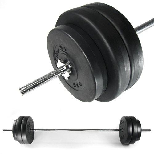 Langhantel, Hantelstange mit 6 Scheiben, Fitness-Sport, chrom, Länge: 168 cm, 2 x 5 kg und 4 x 10 kg