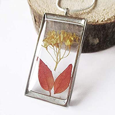 Pendentif Tanisha en résine et feuille de fougère Bijou nature fleur bleue Collier en fleurs séchées argent 925 collier végétal