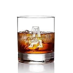 Idea Regalo - AMAVEL Bicchiere Tumbler da Whisky in Vetro - Incisione Personalizzata con Nome e Iniziali - Oggetti da Collezione - Degustazione - Accessori Cucina