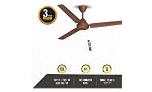 Gorilla Efficio Energy Saving 5 Star Rated 3 Blade Ceiling Fan With Remote Control and BLDC Motor, 1400mm- Brown
