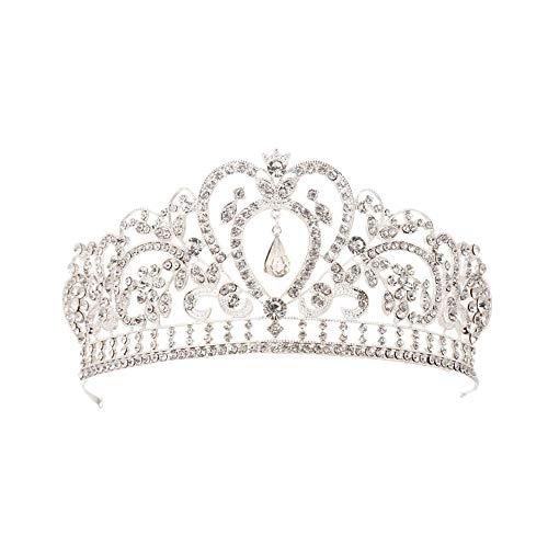 Fablcrew Strass Diadem Hochzeit Diadem Braut Brautjungfern Strass Kronen Stirnband Damen Schließe Haarspange Pin Silbernes Haarspange 1 Stück Silber