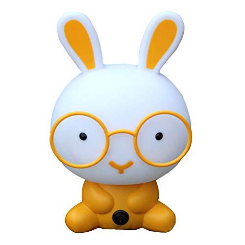 Mobestech Cartoon gläser kaninchen leselicht buch licht led schreibtischlampe für hause schlafsaal kinder student schlafzimmer nacht (gelb)