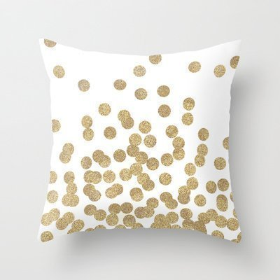ruichangshichengjie HLPPC Simple Design Pillowcase Gold Glitter Dots In Scattered Pattern Throw Pillow Cover 18 x 18 Inches Glitter Dot Satin