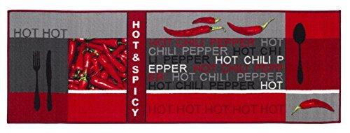 Attractive Andiamo 282648 Hot Pepper Kitchen Rug 100% Cotton, Red, 120 X 67 X 0.5 Cm