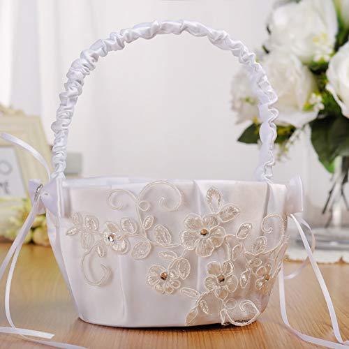 Wingbind Hochzeits-Korb für Blumen-Mädchen, reizender weißer Spitze-Band-Satin-Rhinestone-Dekorations-Korb für Hochzeits-Zeremonie-Partei