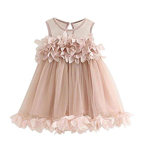 puseky Kleinkind Mädchen Kleid ärmellos Blume Prinzessin Party Tutu Mesh Chiffon Tüll Kleider Chiffon Tüll Kleid