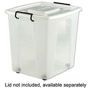 Strata Clearly Strong Storage Box minus Lid Plastic Wheeled 50 Litre W390xD440xH430mm Ref HW685-CLR