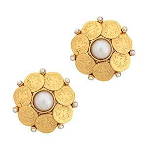 Adiva South Indian Temple White Metal Alloy Stud Earrings For Women