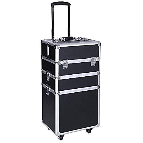 LXDDP Professionelle Make-up Zug Fall, tragbare Aluminium rollende kosmetische Aufbewahrung Schmuck Organizer Travel Brush Bag Halter mit DIY verstellbaren Teiler & Tastensperre, 3-in-1-Künstler TRO