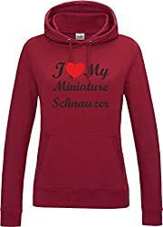 I Love Heart My Miniature Schnauzer Dog Red Hot Chilli Womens Hoodie With Black Text & Red Heart