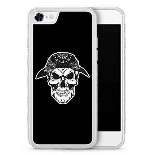 iPhone 8 Hülle SILIKON FROSTED - Totenkopf Bandana am Kopf - Motiv Design Grunge Cool - transparente durchsichtige Handyhülle Schutzhülle Cover Case Schale (Bandana Fr)