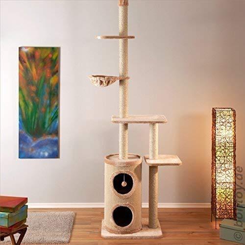Bontoy Kratzbaum Filou in Creme. Deckenhoch von 240 - 260 cm. Viel Platz zum Kratzen, Spielen und Toben.