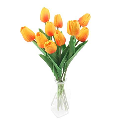 cherrboll Künstliche Blumen, Fake Tulpen Bouquet Real Touch Blumen Brautschmuck Hochzeit Bouquet für Home Garden Party Floral Decor, Orange, 10 Stück