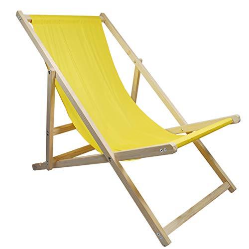 Helo Garten Strand Liegestuhl klappbar aus Holz bis 120 kg belastbar, Strandstuhl aus Kieferholz, 3-Fach verstellbare Lehne, wasserabweisender Bezug aus Oxford-Gewebe - Sonnenstuhl Farbe: Gelb