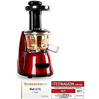Klarstein Fruitpresso Bella Rossa • extractor de zumo • juguera vertical • colador de acero inoxidable • 150 W • 70 rpm • mecanismo de presión de tornillo • marcha hacia adelante y en reversa • rojo